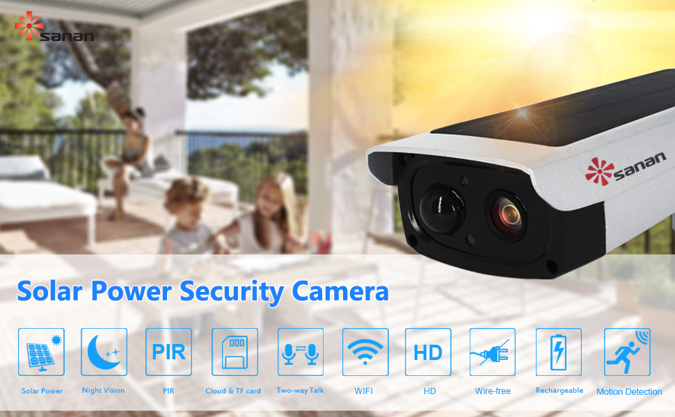 Solar Security Camera,Sanan Wireless IP Camera Outdoor WiFi Camera Waterproof 1080P Night Vision PIR Alarm APP for Android and iOS, Support Max 32G