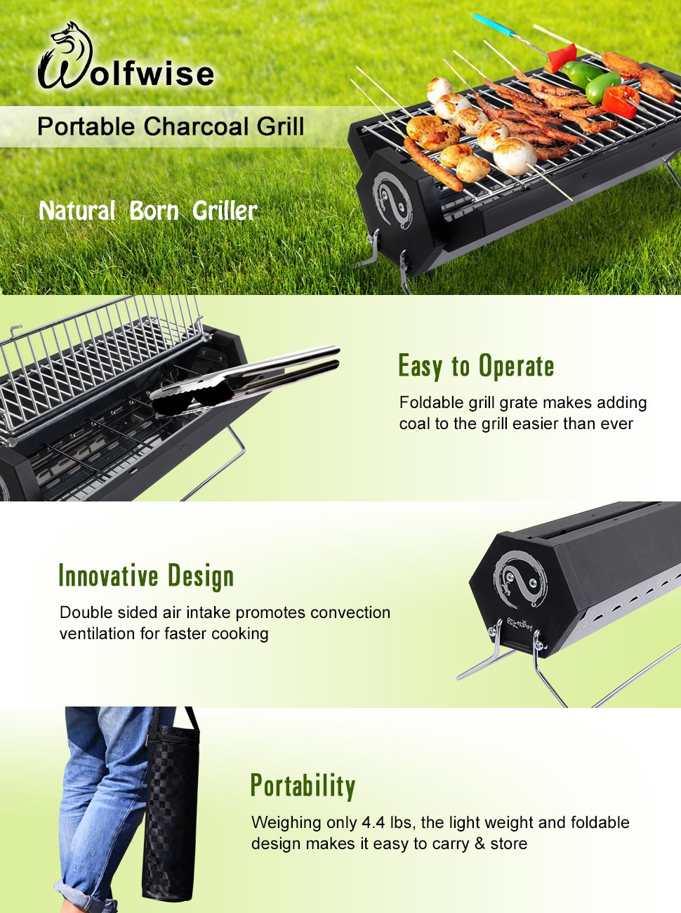 WolfWise Folding Stainless Steel Charcoal Grill. Wolfwise Portable ...