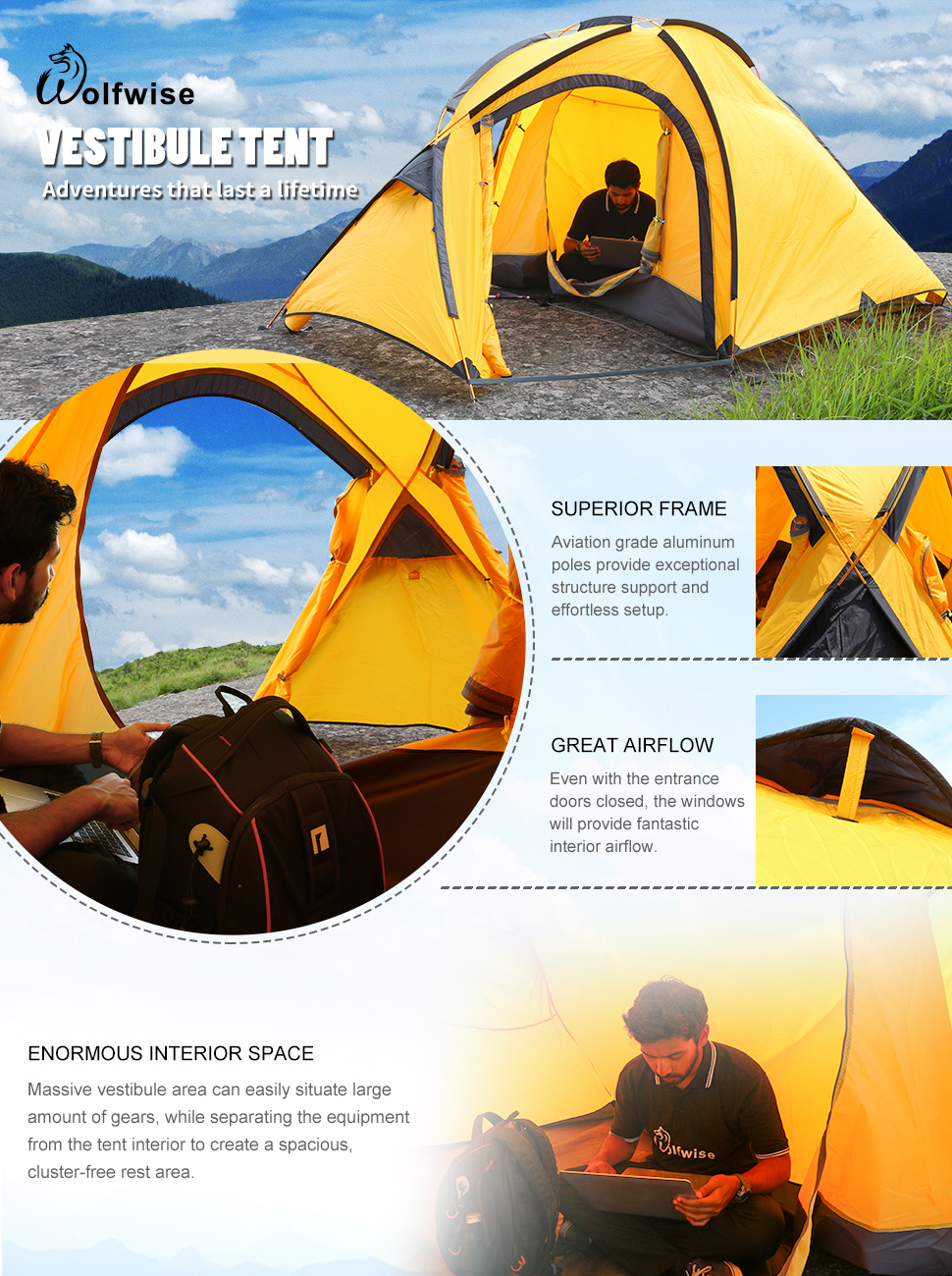 WolfWise 4 Person Large Family Tent Backpacking Tent Sun Shelter Sunshade for C&ing Travel Adventure & Amazon.com : WolfWise 4 Person Large Family Tent Waterproof ...