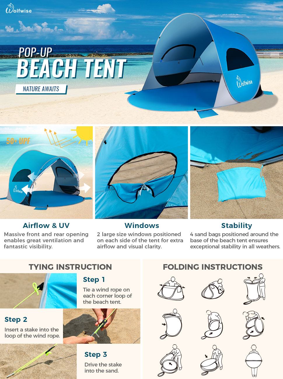 WolfWise Easy Up Beach Tent Pops Up and Folds Down in Seconds  sc 1 st  Amazon.com : folding pop up beach tent - memphite.com