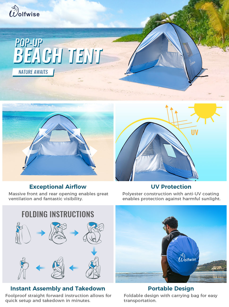 WolfWise Portable UV Protection Beach Tent  sc 1 st  Amazon.com & Amazon.com: WolfWise Easy Pop Up Beach Tent Instant Sun Shelter ...