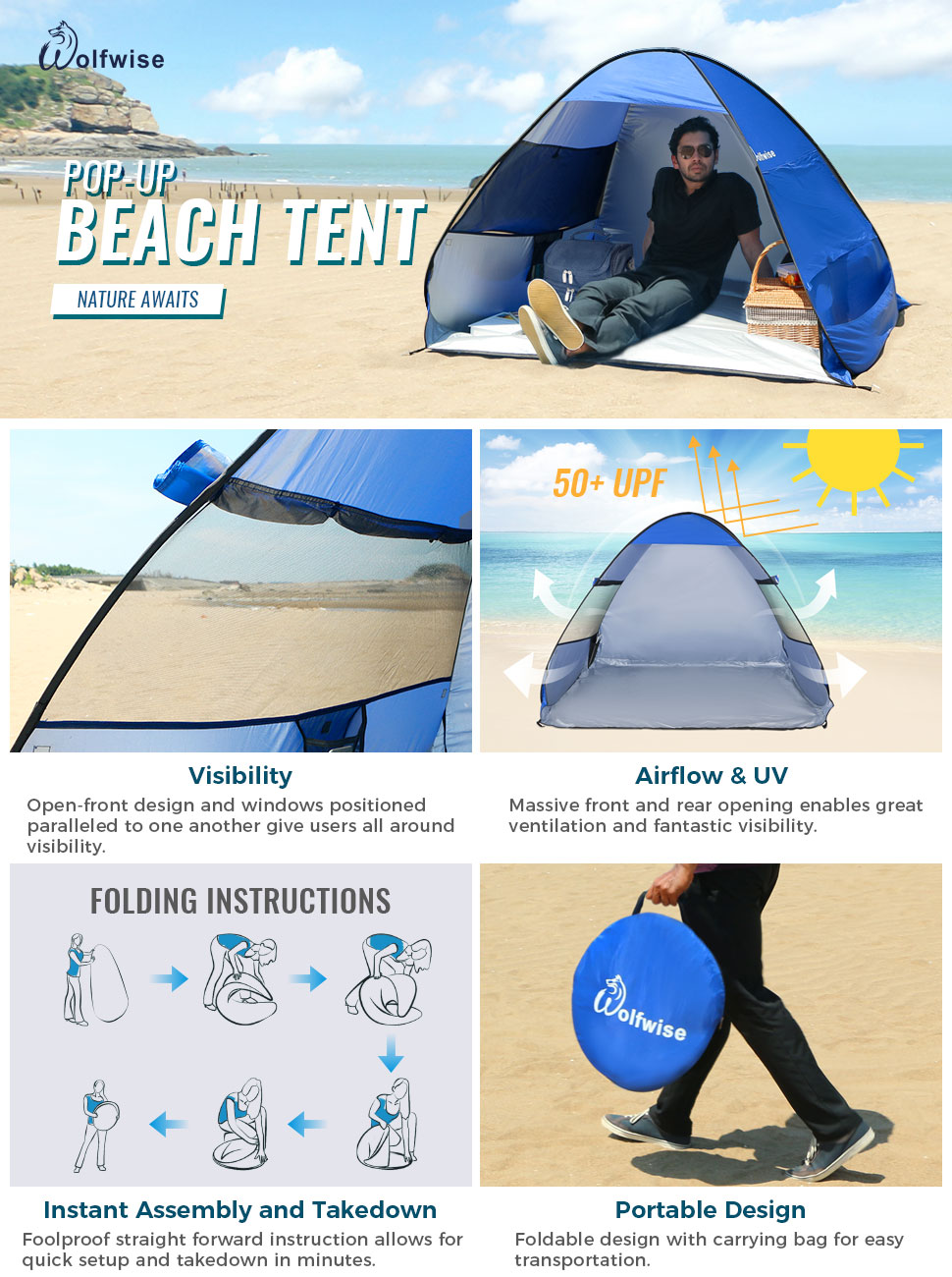 WolfWise UPF 50+ Easy Pop Up Beach Tent Instant Sun Shelter Tent Sunshade Baby Canopy  sc 1 st  eBay : folding pop up beach tent - memphite.com