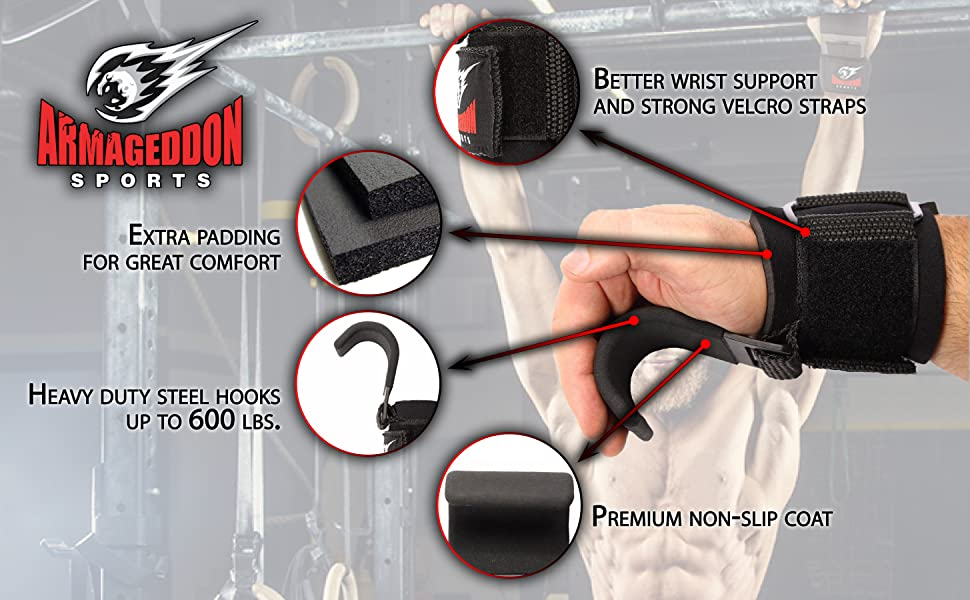 Deadlift Hooks Weightlifting Power Lifting Straps  Wrist Support Padded Wraps for Fitness Grips