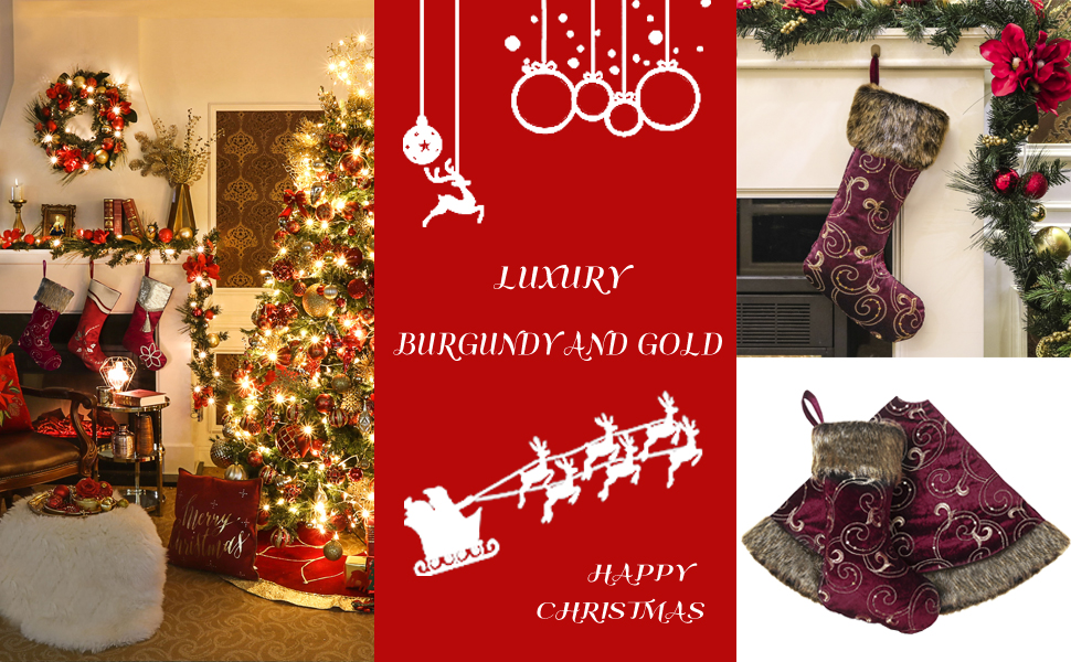 Amazon Com Valery Madelyn 21 Luxury Burgundy And Gold Christmas