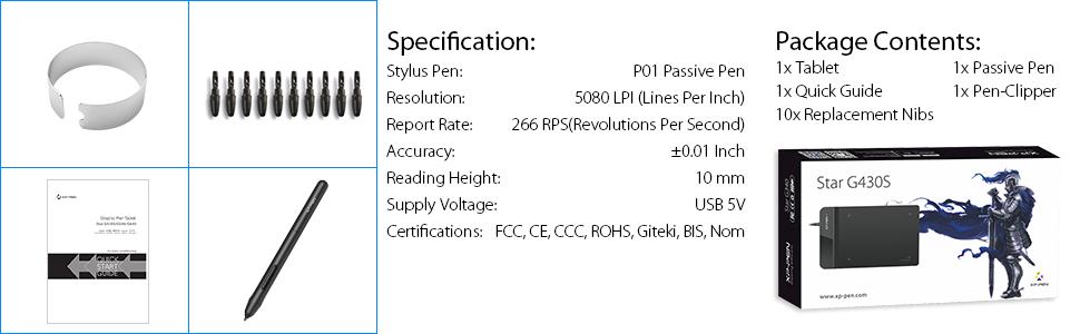 Amazon com: XP-Pen G430S OSU Tablet Ultrathin Graphic Tablet