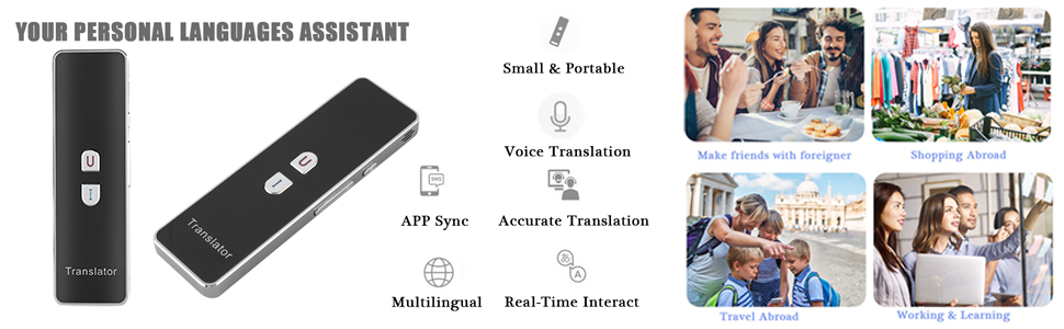 T8+ Smart Language Translator, 2 4G Bluetooth Real Time Voice Translation  Device Support Chinese Arabic Portuguese French German Spanish Russian