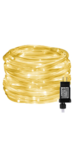 LE Indoor Outdoor Plug in LED Rope Lights for Garden Patio Deck Pool Decorations Warm White Timer