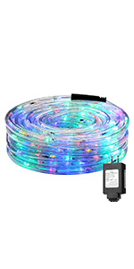 LE Indoor Outdoor Plug in LED Rope Lights for Garden Patio Deck Pool Decorations RGB Multicolor