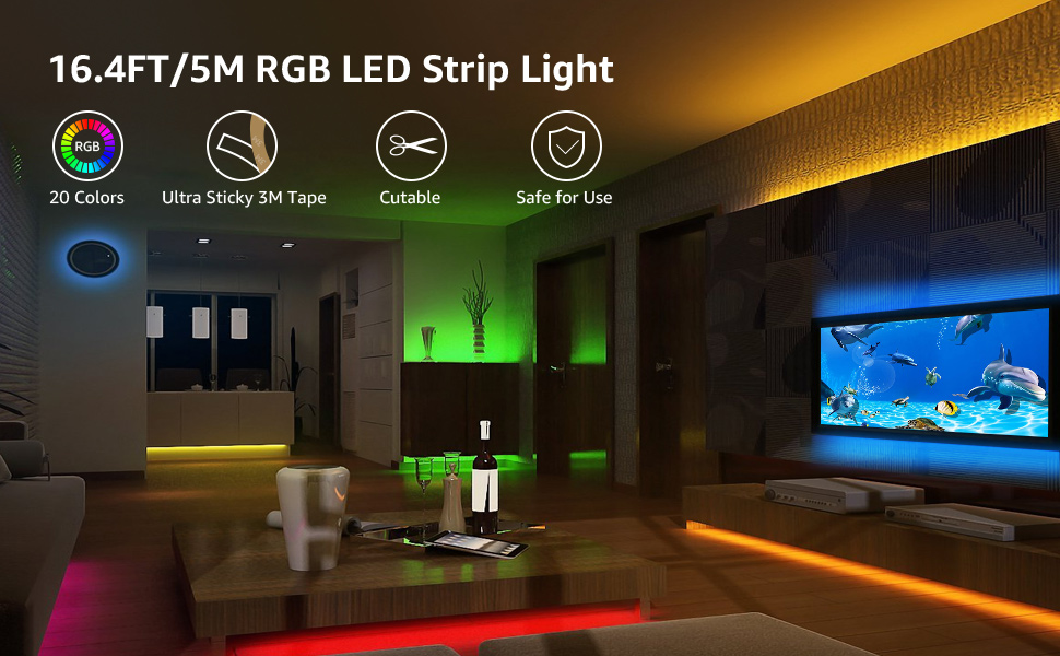 amazon com le 12v led strip light kit 150 units smd 5050 16 4ft rh amazon com
