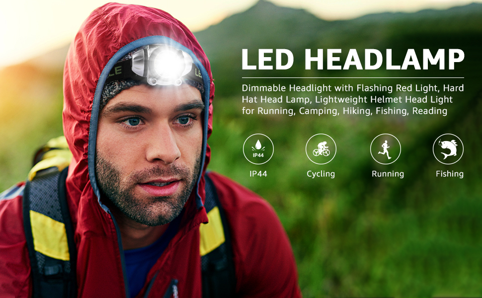 LE LED Headlamp, Head Lamp with Flashing Red Light, Hard Hat Helmet Light