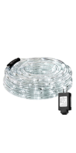 LE Indoor Outdoor Plug in LED Rope Lights for Garden Patio Deck Pool Decorations Cool White