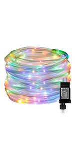 LE Indoor Outdoor Plug in LED Rope Lights for Garden Patio Deck Pool Decoration RGB Multicolor Timer