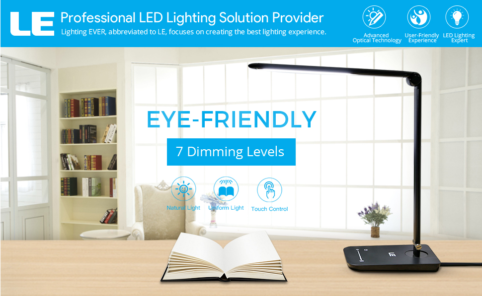 The Led Desk Lamp Is Powered By Constant Current And Covered By PC  Diffusion Cover, So It Emits Flicker Free And Non Glare Light, Helping You  Avoid Eye ...