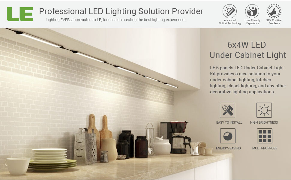 LE LED Under Cabinet Lighting, Dimmable Under Counter Kitchen ...