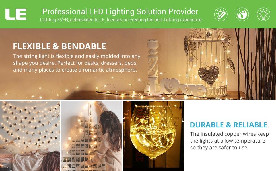 Amazon.com: LE 100 LEDs 33ft Copper Wire String Lights Warm White ...