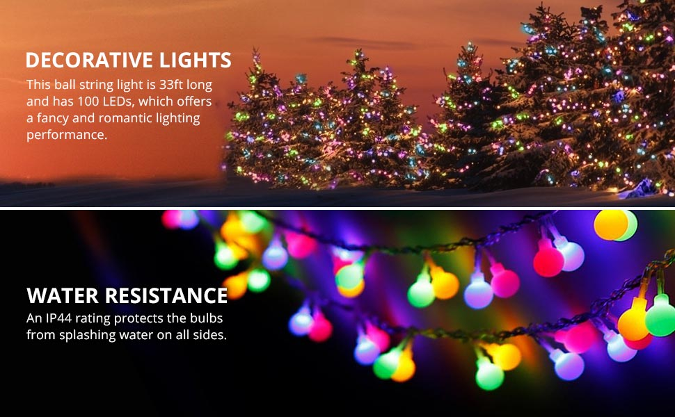 this ball string light is 33ft10m long enough for your decoration and with 100 energy saving leds it offers fancy and romantic warm white color lighting