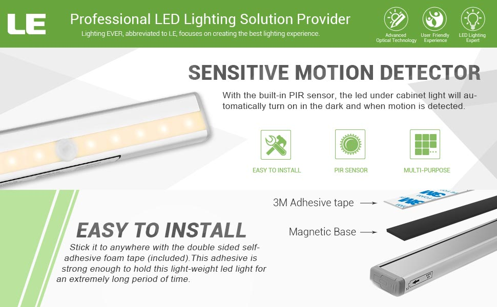 Using advanced infrared technology the LED step light is quite sensitive. The light will turn on/off automatically at night or in a dark place when motion ...  sc 1 st  Amazon.com & LE LED Closet Light 10 LEDs Motion Sensor Under Cabinet Lighting ... azcodes.com