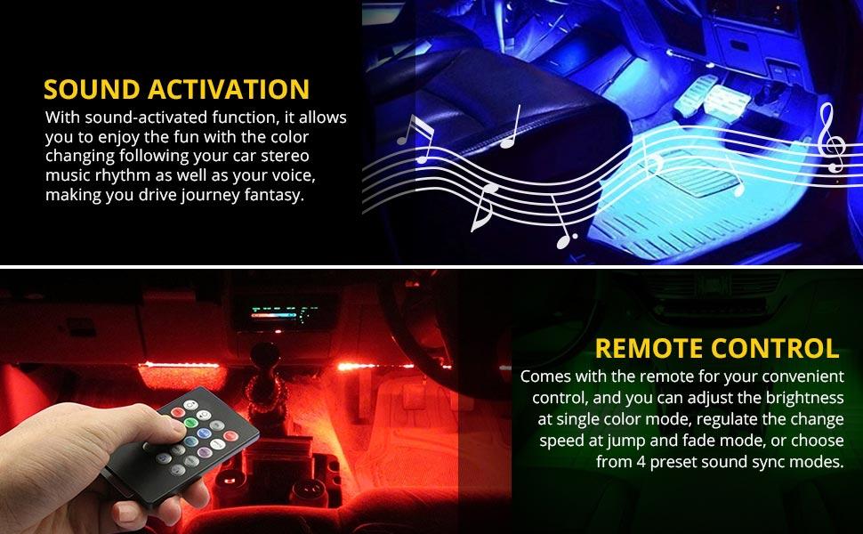 Amazon le 4pcs 72 leds car strip lights rgb multicolor music light color rgb light strip amount 4 pcskit led type 5050 smd led amount total 72 leds 18 ledsstrip light bar 321305cm 1305102in light aloadofball Image collections