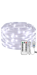 LE LED Rope Light USB Powered Waterproof Cool White Outdoor Rope Lighting for Patio Pool Deck Garden