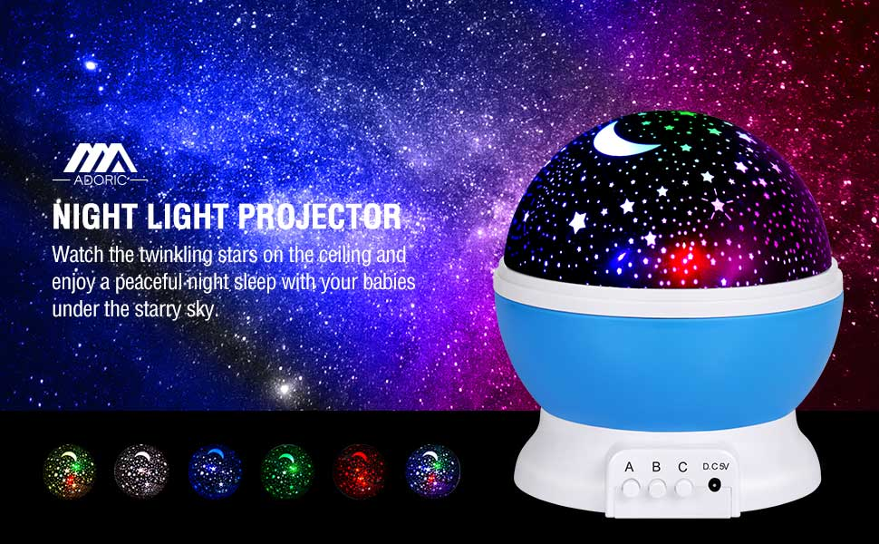 Amazon Com Adoric 361 Night Lamp Star Light Rotating Projector 4 Led Bulbs 8 Modes For Children Kids Bedroom 3 2ft Usb Cord Home Improvement