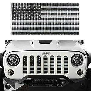 Hooke Road USA American Flag Front Grille Mesh Insert for 2007-2018 Jeep Wrangler JK /& Unlimited