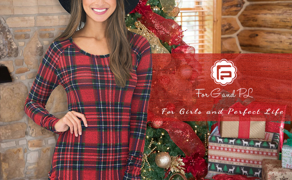 3c7f9f84adb For G and PL Women's Christmas Plaid Long Sleeves Tunic Dress with Side  Ruching