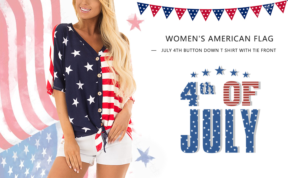 Women Causal Tops Mesh Panel American Flag T-Shirt V-Neck 3//4 Sleeve Basic Blouse Loose 4th of July Tee