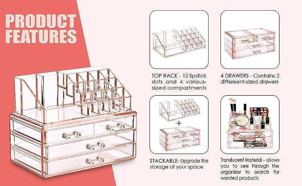 Amazon.com: Ikee Design - Juego de cajas de acrílico para ...