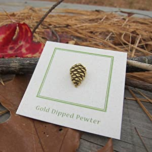 Attractive Handcrafted Gold Dipped Pewter Pine Cone Lapel Pin Outdoor, Nature,  Camping, Tree And Arborist Lapels