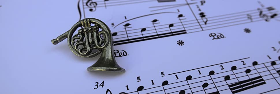 French Horn Lapel Pin  Brass Instruments, Classical, Orchestra, Symphony  And Band Pins
