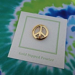 Gold Peace Sign Lapel Pin