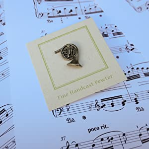 Handcrafted Pewter French Horn Lapel Pin  Brass Instrument, Music,  Orchestra, Symphony And Band Pins