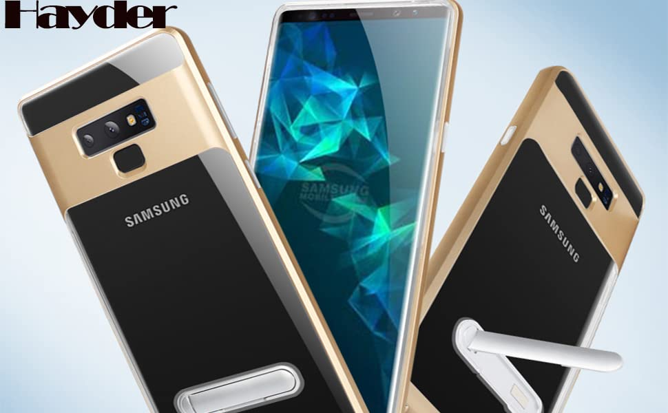 Hayder Galaxy Note 9 Case Car Magnetic Kickstand 360 Degree Ring Holder Protection Cover Cyan-Blue