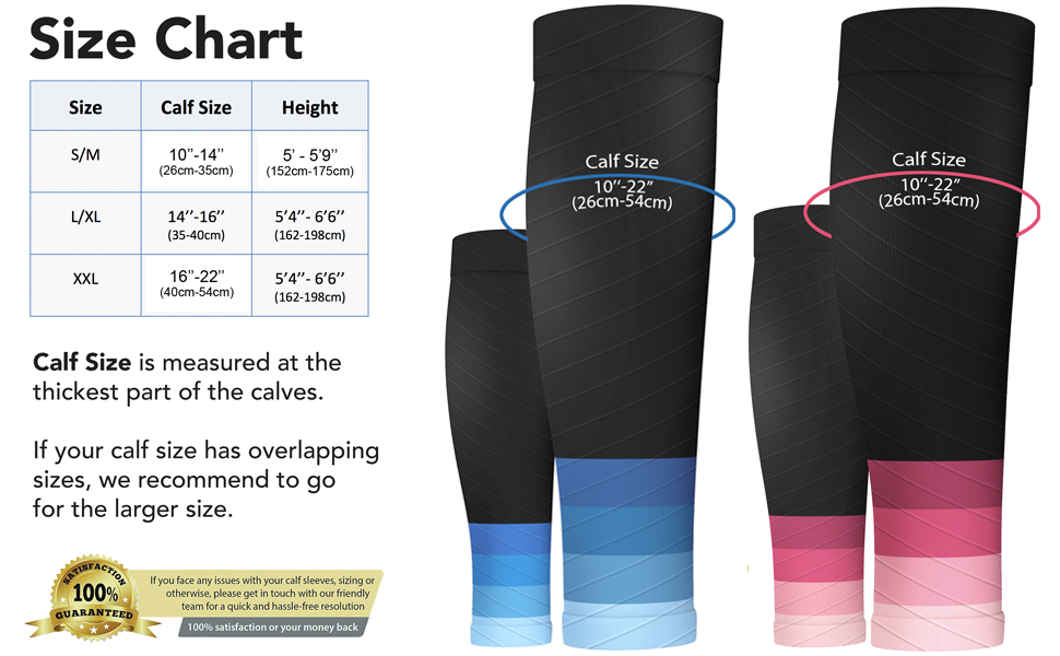 Calf Compression Sleeves - Size Chart