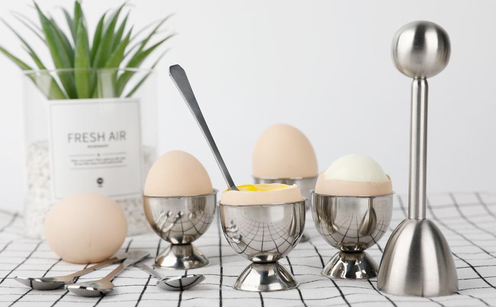 Set Of 4 Mrs Henderson Dolomite Egg Cups Holder Hard Boiled Eggs Breakfast Lunch