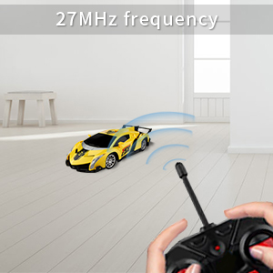 Baztoy Remote Control Cars 27MHz High Speed RC Car Toys 1:24 Scale Electric  Fast Sport Racing Yellow Model Vehicle Best Boys Gifts for Children with