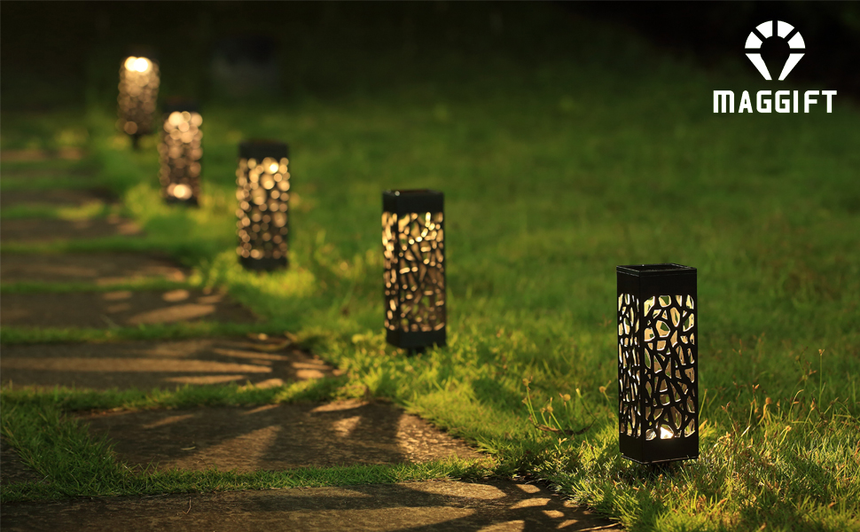 maggift solar garden lights provide warm bright light add magical romantic lighting to your walkway sidewalk garden or patio - Garden Lighting