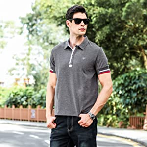 833d74a96 Hotouch Mens Fashion Polo Shirts Casual Slim Fit Basic Sport Polo T ...