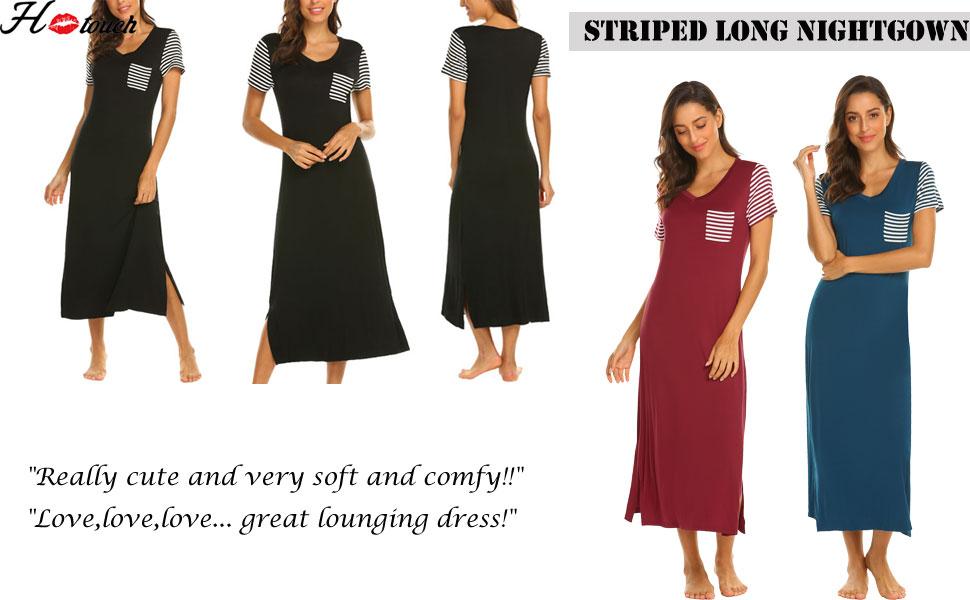 d17e5c35a5 Hotouch Sleepwear Women s Casual Nightgown Short Sleeve Striped ...