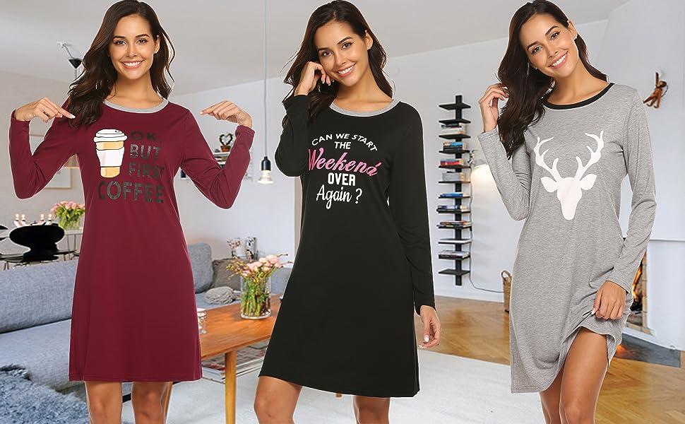 9fd2ee69fd HOTOUCH Sleepwear Women s Nightgown Cotton Sleep Shirt Printed Long Sleeve  Scoopneck Sleep Tee Nightshirt