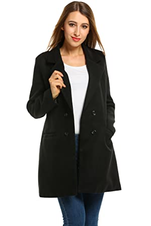 504f4ce33e98 Amazon.com  Hotouch Women Double Breasted Long Coat Wool Blended ...