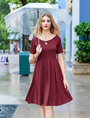 9a2cd2fe1e HOTOUCH Women s Short Sleeve Boatneck Keyhole Solid Casual A-line Knee Dress.  4 Colors  Wine Red ...