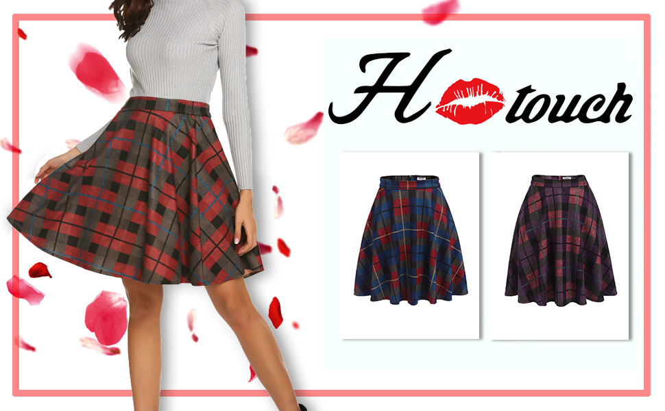 Hotouch Women's Plaid Wool Flared Skirt A-Line Pleated Knee Length Winter Swing Skirts Elastic Waist