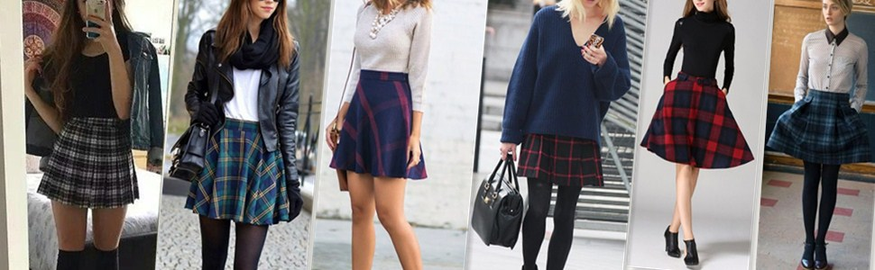 plaid wool skirts
