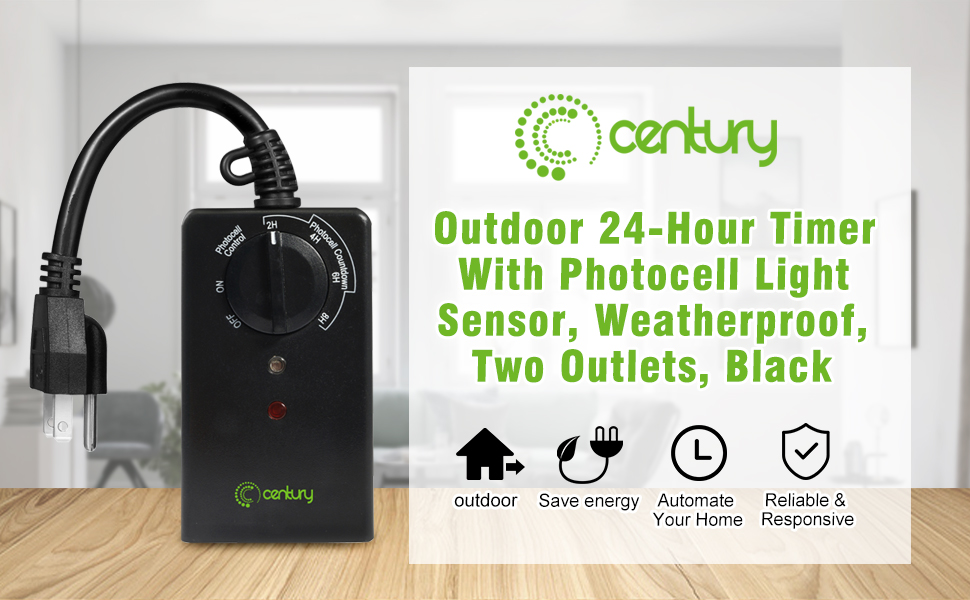 Century outdoor 24 hour timer with photocell light sensor century outdoor 24 hour timer with photocell light sensor weatherproof two outlets black is a new design 24 hours outdoor timer it has phtotcell light mozeypictures Image collections
