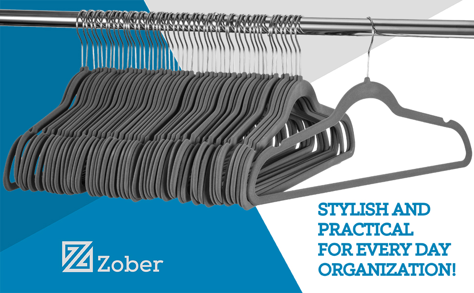 Amazon.com: Zober Premium Quality Space Saving Velvet Hangers Strong ...