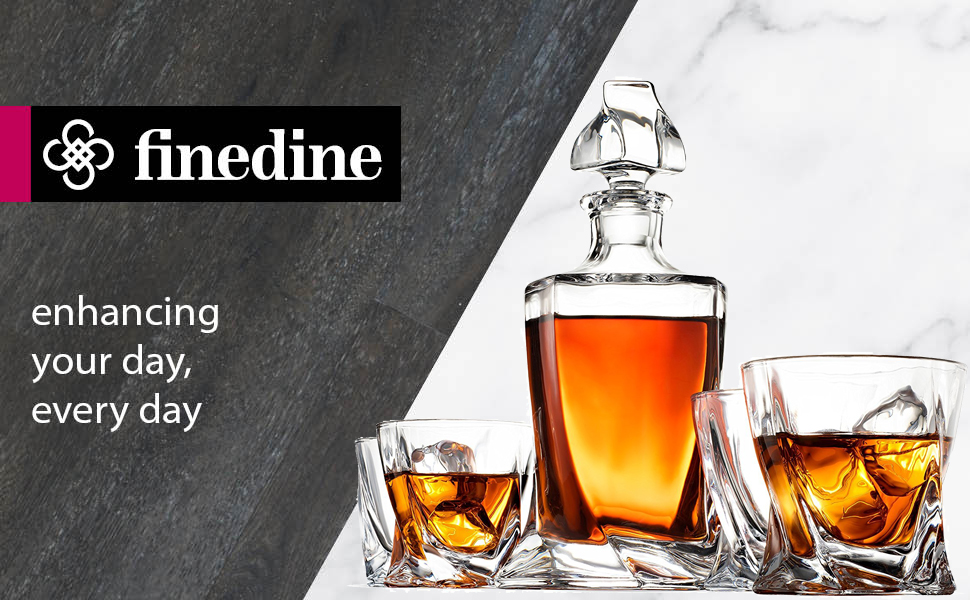 finedine high end modern 5 piece whiskey decanter set weighted bottom european. Black Bedroom Furniture Sets. Home Design Ideas