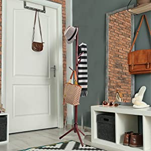 High-Grade Wooden Tree Coat Rack Stand, 6 Hooks - Super Easy Assembly NO Tools Required - 3 Adjustable Sizes Free Standing Coat Rack, Hallway/Entryway ...