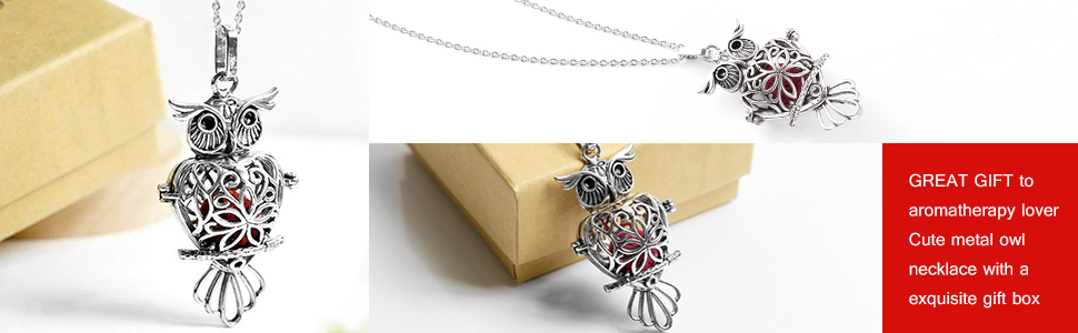Sterling Silver Essential Oil Owl Necklace WITH Custom Blend Refill Bottle