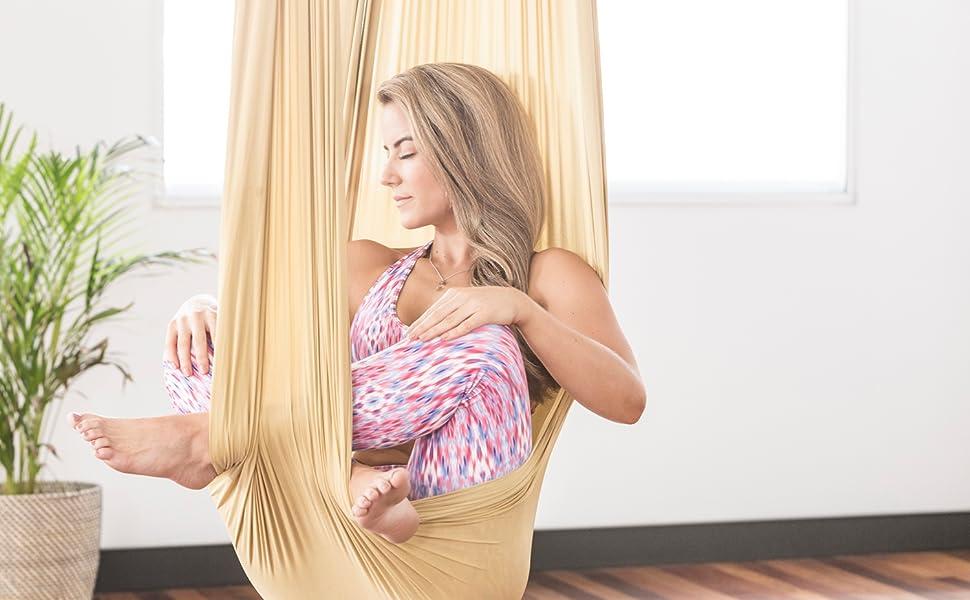 yoga swing healthy model life aerial silks